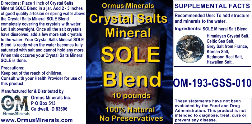 Ormus Minerals Crystal Salts Mineral Sole Blend